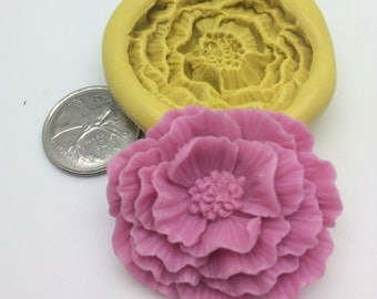 Open peonie Flower Mold -c39