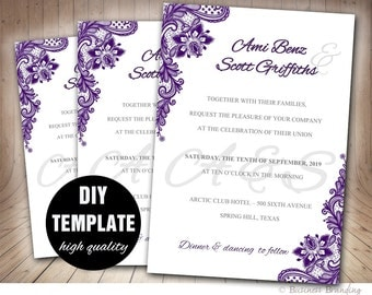 Lace Purple Wedding Invitation DIY,Aubergine Wedding Invitation Template,Elegant Invitation Wedding Template,Purple Wedding Invite