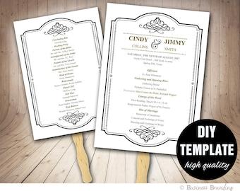 Black and Gold Wedding Program FAN Template DIY Instant Download Microsoft Word,Printable Wedding Fan Program,Gold Wedding,Classic Wedding