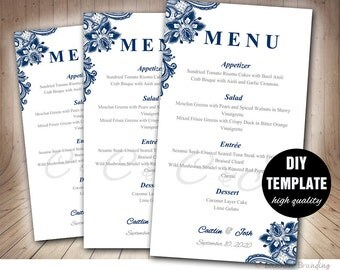 Navy Blue Wedding Menu Card Template,Lace Wedding Menu Template,Instant Download,Napkin Menu,Blue Menu Template,Lace Menu