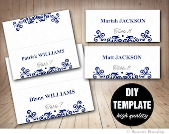 Wedding Blue Placecard Template,DIY Placecards Template,Instant Download,Placecards Wedding,Printable Blue Placecard Template Navy