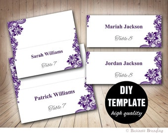 Wedding Placecard Template Foldover, DIY Purple Place cards,Instant Download,Microsoft Word Template,Aubergine Wedding Seating Placecards