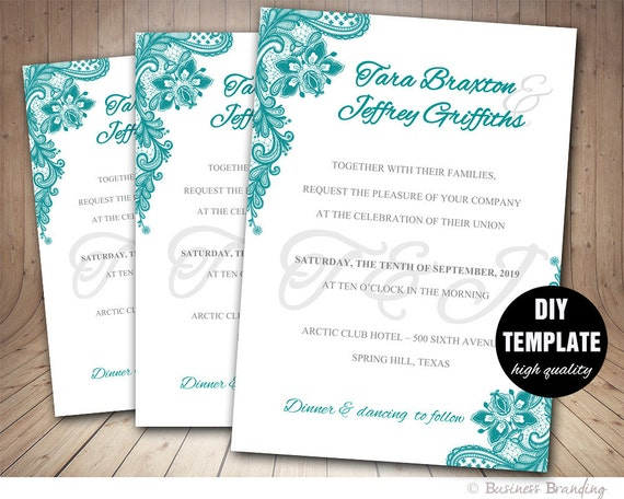 Lace Wedding Invitation Template: Lace Wedding Invitation Template DIYInstant Download