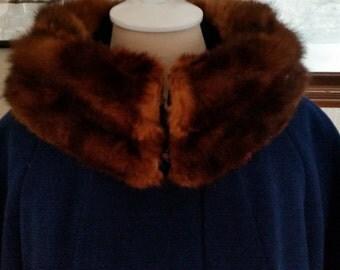 SALE!  Vintage Navy Blue Wool Coat with Fur Collar