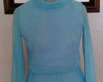 Vintage I Magnin and Co. Sky Blue Chiffon Floor length Dress