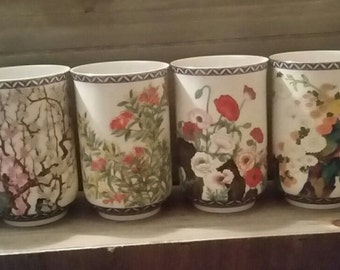 Set of 6 Japanese Saki Juice Cups Flowers of the Orient  Poppies Lotus Cherry Blossom Garden Florals