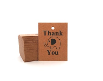 High Quality Mini Thank You Kraft Tags - Set of 30. Great as Wedding Tags, Favor Tags, Hang Tags or Parcel Tags