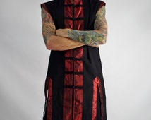 PIRATE SHIRT SLEEVELESS - Renaissance shirt medieval shirt festival pirate coat shirt renaissance costume cosplay doublet - Black and Red