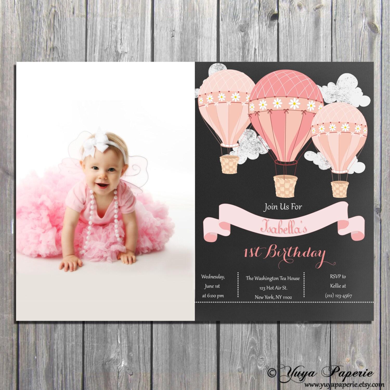 Hot air balloon Birthday InvitationUp and away 1st birthday