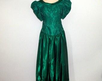 80s Green Formal Dress Large Bridesmaid Dress Christmas Wedding Vintage 1980s Christmas Dress Green Lace Satin Large Womens Clothing