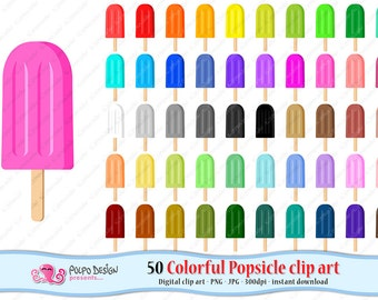 50 colorful Popsicle clipart. Digital Popsicle clip art, Ice Lolly, Lollies, Ice pop, Freeze pop, planner stickers Popsicles, summer clipart