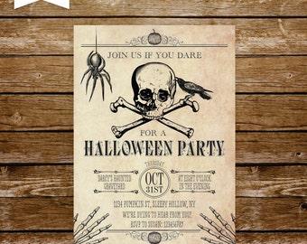 halloween invitation printable vintage halloween invite skull invitation halloween party spider skulls skeletons adult halloween bash 133