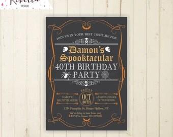 birthday halloween invitation printable halloween invite halloween orange and black invitation halloween spider skulls skeletons adult 133