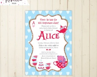 alice in wonderland baby shower invitation etsy baby shower