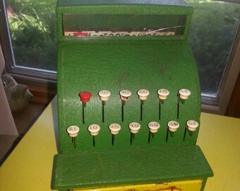 Vintage 1950s Green Tom Thumb Metal Toy Cash Register