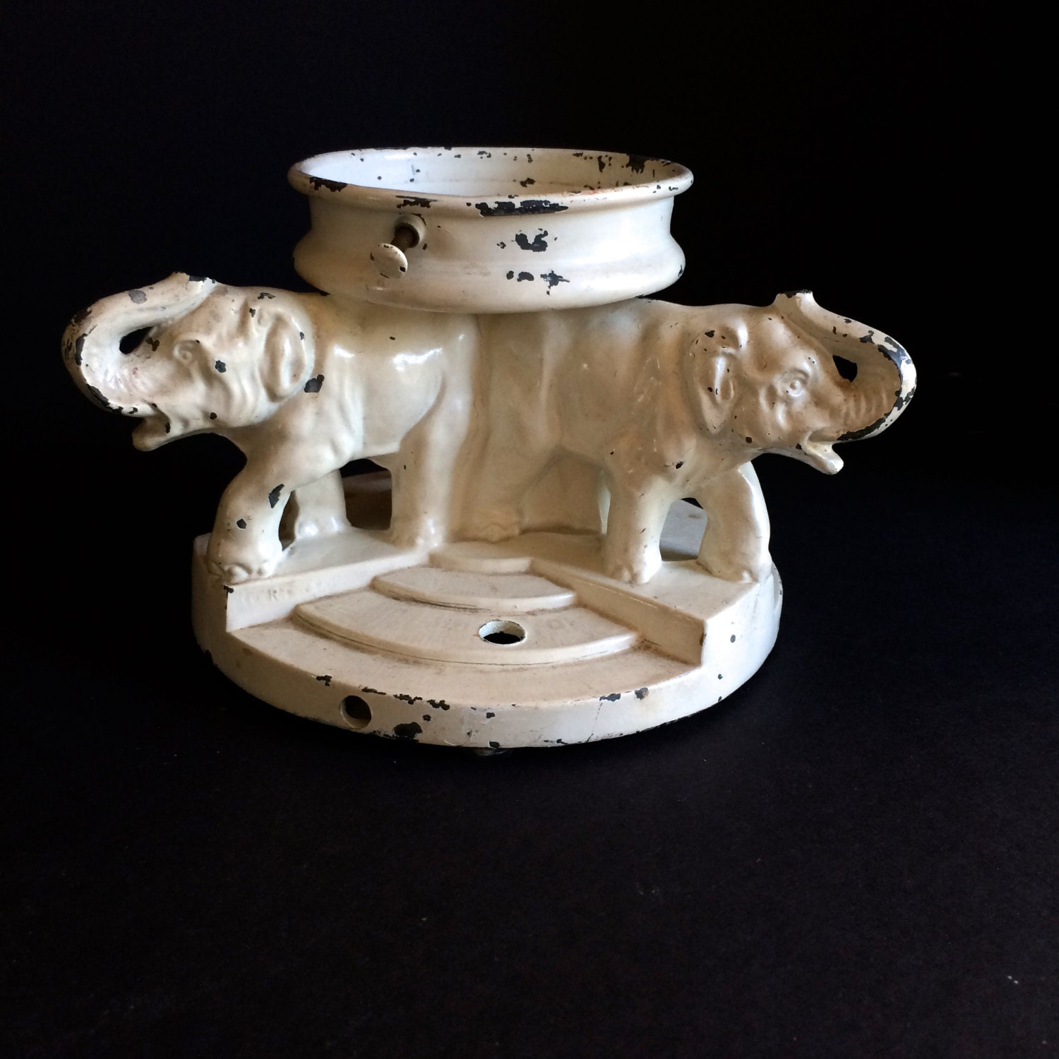 Vintage 1940s Elephant Lamp Base. Painted Cast Metal. Needs To