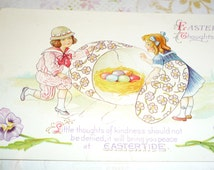 Unused NASH Easter Fantasy Postcard - Children Open Giant Box With Nest of Colored Eggs Inside