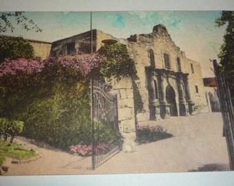 Hand-Colored Picture of the ALAMO, San Antonio, Texas Vintage Postcard
