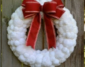 White, Contemporary, Fluffy Pom Pom, Wreath, Snowball Wreath, White Christmas Wreath