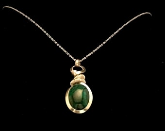 Sterling Silver Handmade Necklace made With Malachite