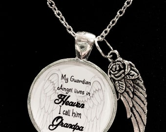 Grandpa Angel Necklace, My Guardian Angel Lives In Heaven I Call Him Grandpa Wing Memory Sympathy Gift Remembrance Memorial Necklace