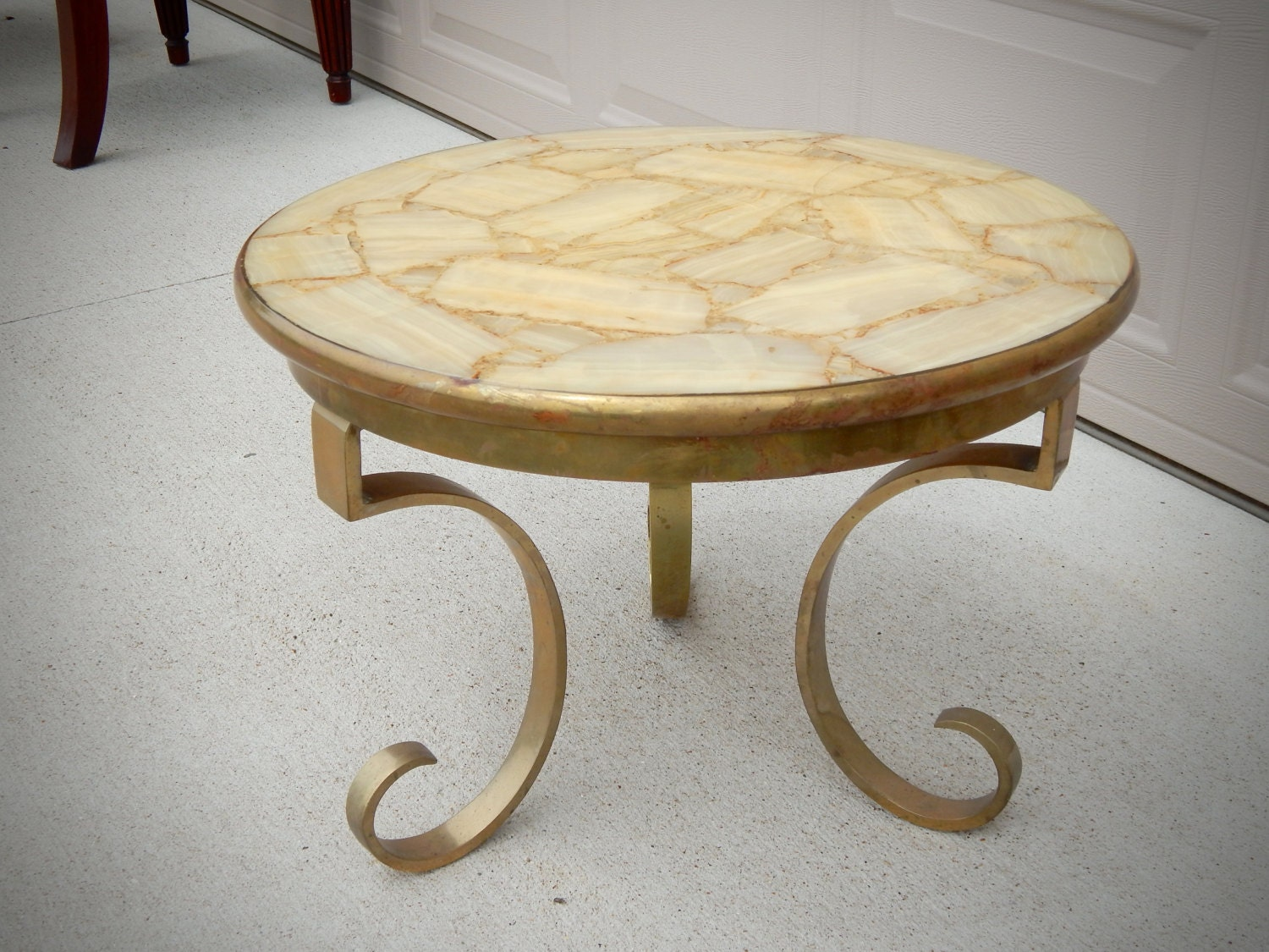 Vintage Brass Coffee Table With Yellow Onyx Top Onyx Brass
