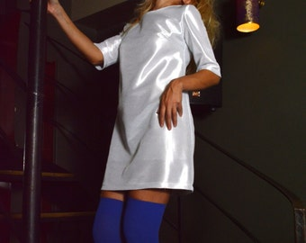 Silver Dress//Alpha 60s Dress // Party Mini Dress /// Wedding Dress// Silver Metallic///Silver Decorative Discoball Zippers
