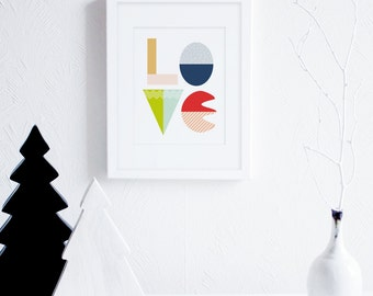 Love Wall Art, Word Wall Art, Modern Nursery Printable Art, Geometric Art, Mid Century Modern Decor, Bold Colors, Scandinavian Art Prints