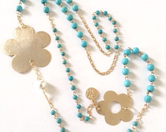 Long Turquoise Necklace gold flower charm Beaded Turquoise Necklace 1 strand statement necklace, Gold filled necklace, Turquoise Jewelry