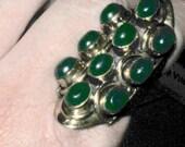 Jade steampunk style statement ring /cigar band/ ring huge ring /jade statement