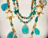 Kiss me in the moonlight druzy blue statement necklace