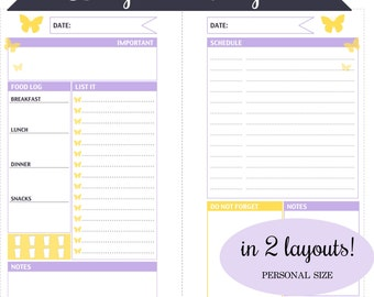 Filofax Personal - DAY ON A PAGE in 2 Layouts - Daily Schedule, List, Food Log & More - Instant Download