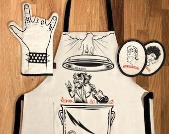 Classic rock gift pack - apron oven mitt potholders