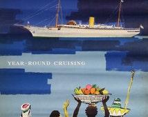 1960s Stella Polaris - Clipper Line of Sweden - Original Vintage Poster
