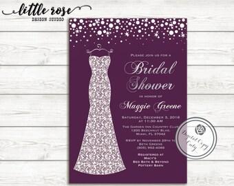 Bridal Shower Invitation with Wedding Dress - Wedding Shower - Sparkles - Printable Invitation - Digital File -  LR1006
