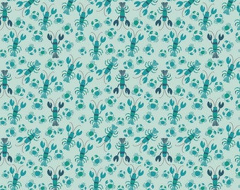 Aqua Lobster & Crab Fabric, Riley Blake Offshore C4923 Blue, Deena Rutter, Teal Lobster Fabric, Nautical Cotton Yardage, Beach Quilt Fabric