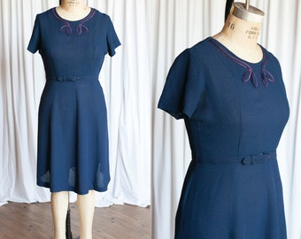 Nothing But Good dress   blue rayon 40s dress   vintage navy blue 1940s dress   xl vintage 40s dress
