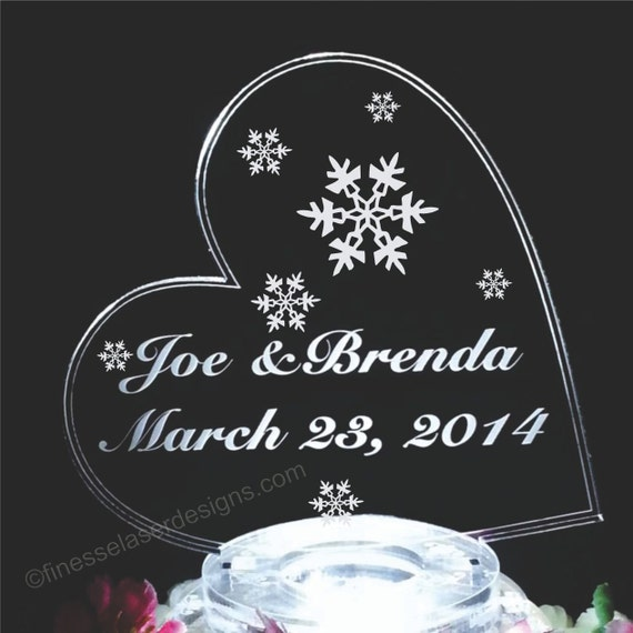 Snowflake Lighted Wedding Cake Topper Acrylic Cake Top Side