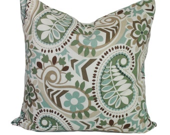 Blue pillow cover, Decorative pillow, Throw pillow, Paisley pillow, Brown pillow, Sham,  12x20, 16x16, 18x18, 20x20, 22x22, 24x24, 26x26