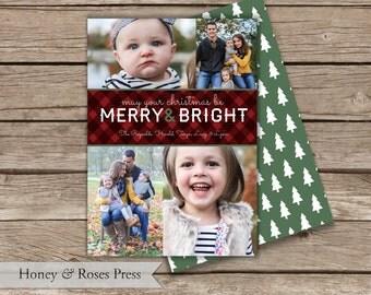 Woodsy Christmas Card  .  Multiple Photo Christmas Card  .  Nature Holiday Card  .  Digital File  .  Printable Card