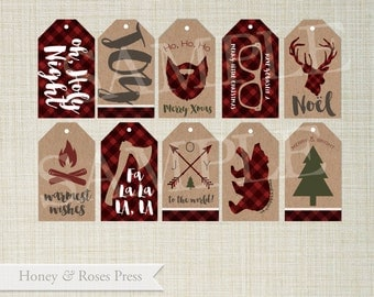 Woodsy Christmas Tags  . Lumberjack Christmas . Rustic Christmas Tags . Holiday Tags . Printable Tags