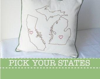 State Pillow Cover California Michigan Decorative Throw Custom Embroidered, United States Ohio Washington New York Carolina Texas Gift