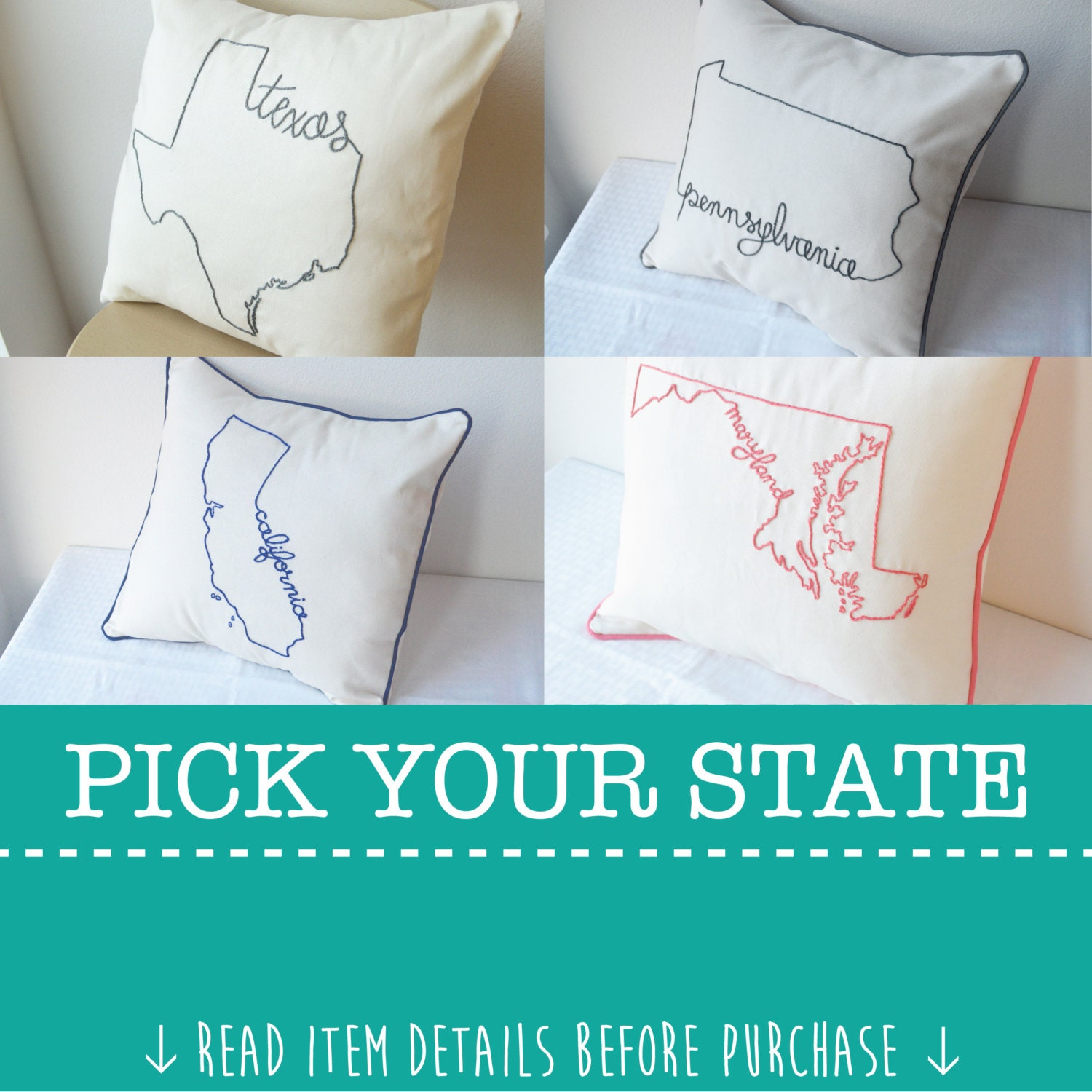 Embroidered State Throw Pillows : State Pillow Cover Decorative Throw Custom Embroidered United