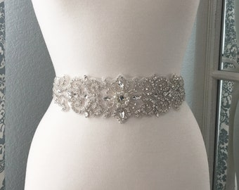 Bridal Sash, Wedding Dress Belt, Rhinestone Pearl Bridal Sash, Crystal Sash Belt, Wedding Dress Belt, Bridal Sash Belt 9833