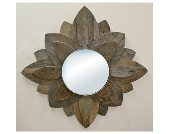 Modern Reclaimed Wood Mirror - Flower Petals