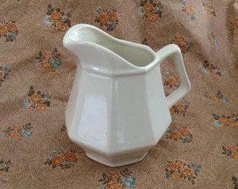White China Creamer, Octagonal Shaped  White Porcelain Creamer