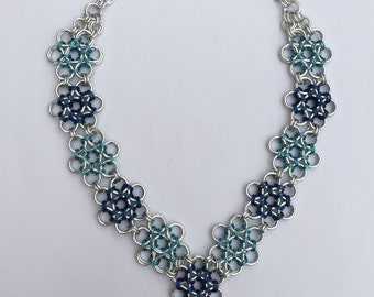 Blue Chainmaille Flower Necklace