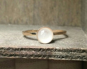Natural White Moonstone Gold Filled or Sterling Silver 6mm Ring