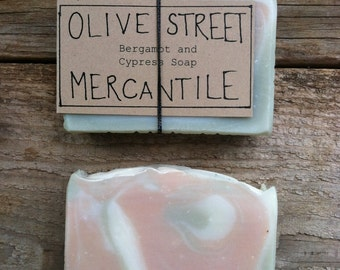 Tallow and Olive Oil Soap Bar with Pink and Green Clay and Cypress and Bergamot Essential Oils, Palm-Oil Free, Natural Soap, Bar Soap, Gift