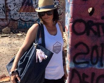 Large Denim Bag, Denim Tote, Weekender Bag, Travel Tote, Dark Denim Bag, Womens Accessories